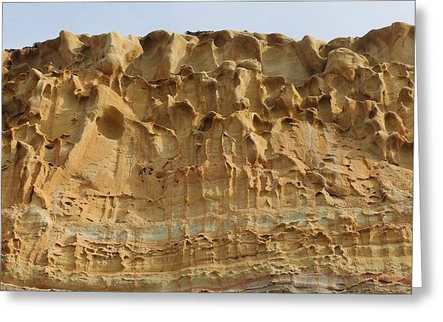 California Beaches Greeting Cards - Sandstone Cliff - 4 Greeting Card by Christy Pooschke