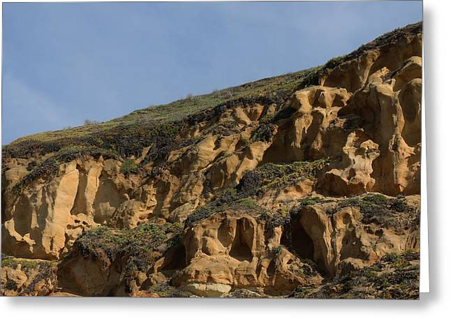 California Beaches Greeting Cards - Sandstone Cliff - 5 Greeting Card by Christy Pooschke