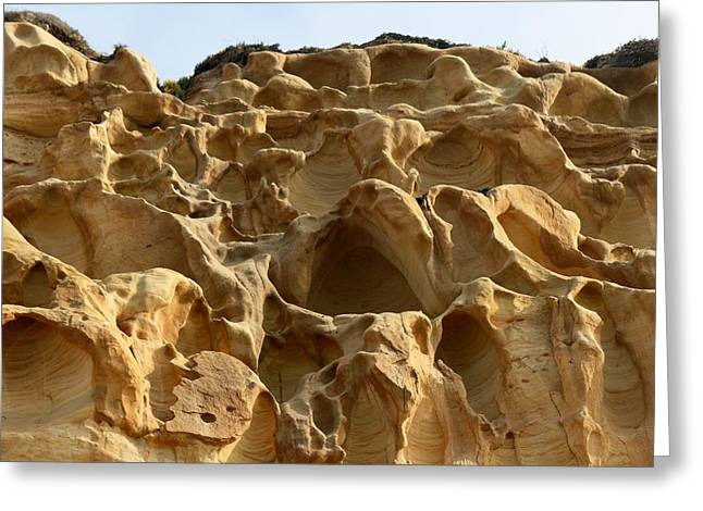 California Beaches Greeting Cards - Sandstone Cliff  Greeting Card by Christy Pooschke