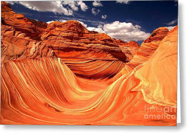 The Plateaus Greeting Cards - Sandstone Waves And Clouds Greeting Card by Adam Jewell