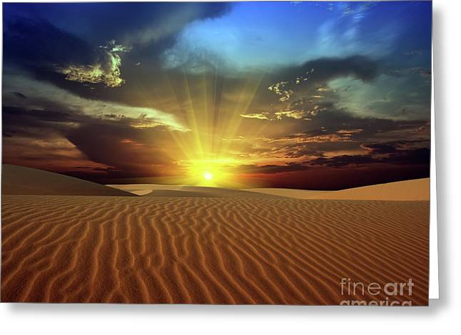 Best Sellers -  - Sahara Sunlight Greeting Cards - Sandy desert Greeting Card by MotHaiBaPhoto Prints