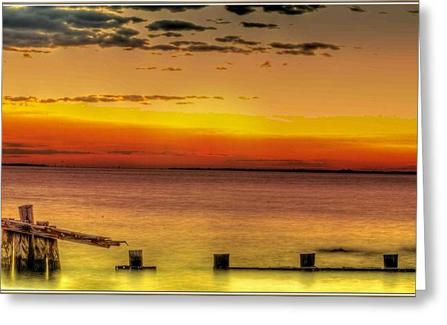 Sunset Greeting Cards Greeting Cards - Sandy Hook New Jersey Sunset Greeting Card by Geraldine Scull