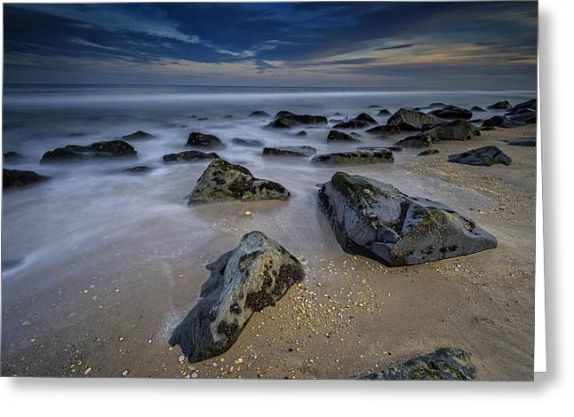 Beach Sunsets Greeting Cards - Sandy Hook Greeting Card by Rick Berk