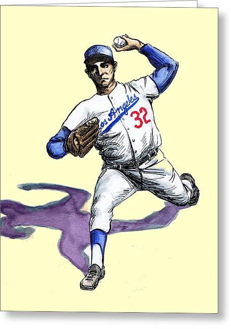 Koufax Greeting Cards - Sandy Koufax Greeting Card by Mel Thompson