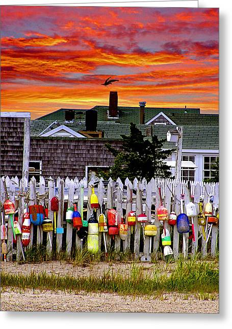 Lobster Buoy Greeting Cards - Sandy Neck Sunset Greeting Card by Charles Harden