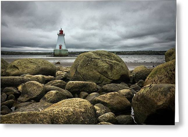Sandy Point Lighthouse Greeting Card by Christine Sharp