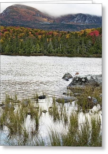 Maine Landscape Greeting Cards - Sandy Stream Pond view of Baxter Peak in Baxter State Park Maine Greeting Card by Brendan Reals