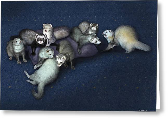 Ferret Greeting Cards - Sandys Ferrets Greeting Card by Barbara Hymer