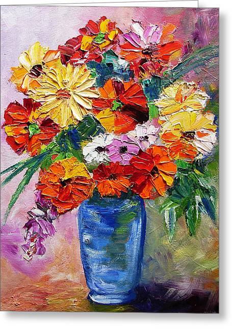 Mj Paintings Greeting Cards - Sandys Flowers Greeting Card by Mary Jo  Zorad
