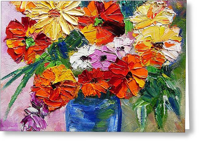Sandy's Flowers Greeting Card by Mary Jo  Zorad