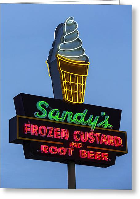 Sandys Frozen Custard - Austin Greeting Card by Stephen Stookey