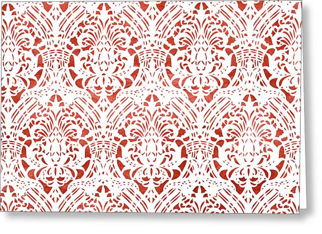 Sanguine Vintage Pattern Greeting Card by Frank Tschakert