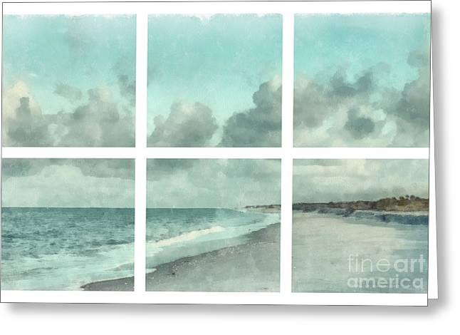 Sanibel Island Bowman Beach Watercolor Grid Greeting Card by Edward Fielding