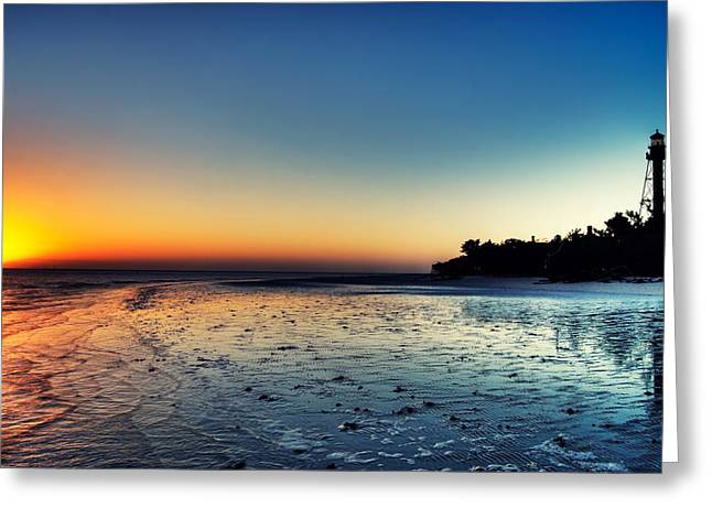 Ocean. Reflection Greeting Cards - Sanibel Sunrise Greeting Card by Rich Leighton