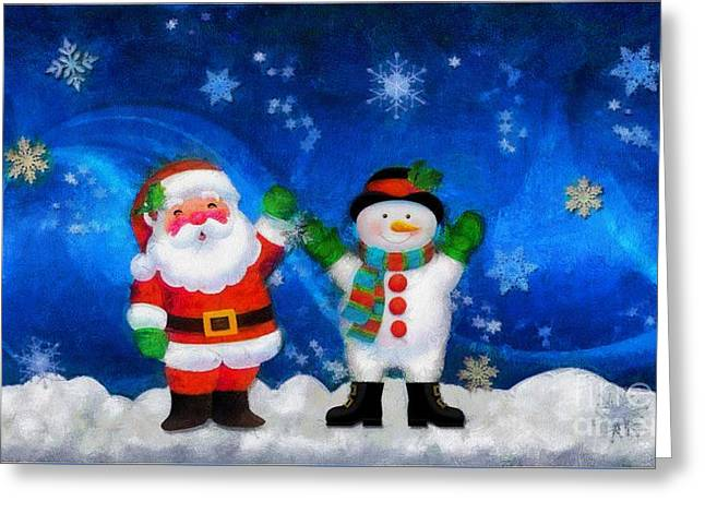 Santa And Frosty Painting Image With Canvased Texture Greeting Card by Catherine Lott