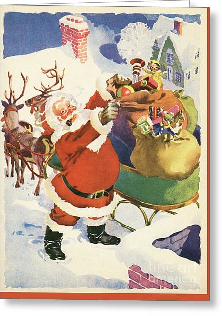 Santa And His Bags Of Toys On Christmas Eve Greeting Card by American School