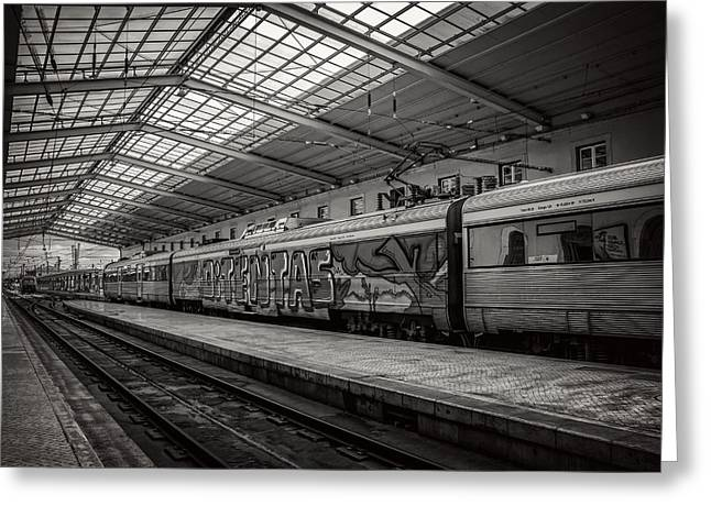 Santa Apolonia Railway Station Lisbon Greeting Card by Carol Japp