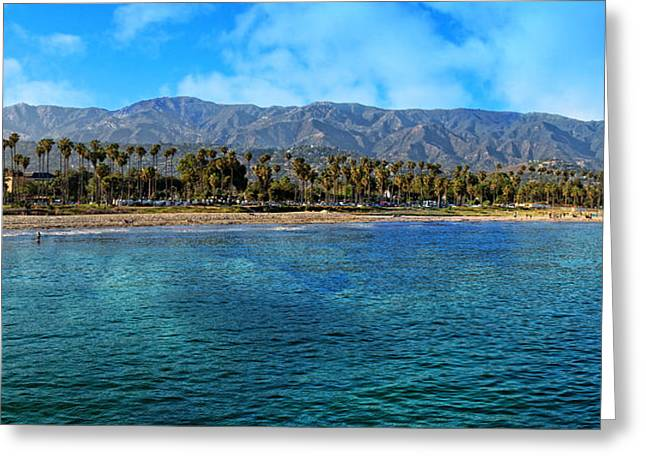 Ocean Landscape Greeting Cards - Santa Barbara Coastal Panorama Greeting Card by Lynn Bauer