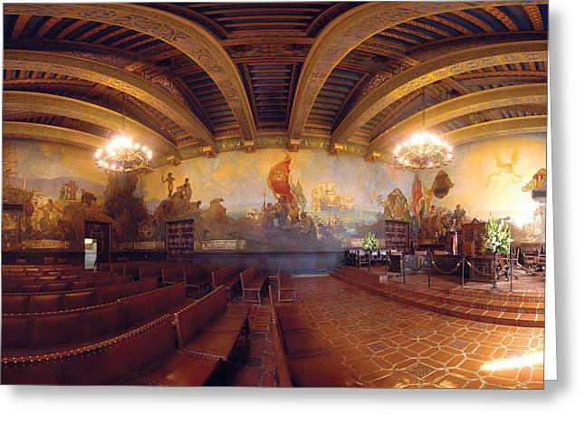 Gigapan Greeting Cards - Santa Barbara Court House Mural Room Photograph Greeting Card by Brian Lockett