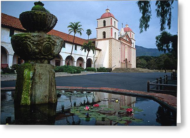 Lilies Framed Prints Greeting Cards - Santa Barbara Mission with Fountain 2 Greeting Card by Kathy Yates