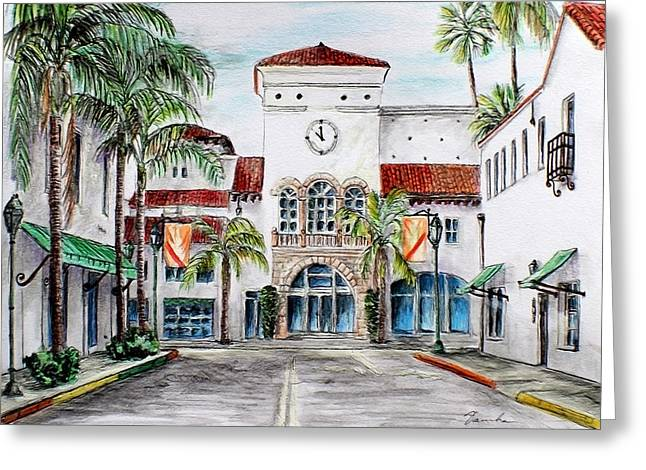 Downtown Drawings Greeting Cards - Santa Barbara streets Greeting Card by Danuta Bennett
