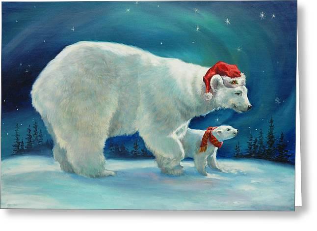 Santa Bear Greeting Card by Laurie Hein