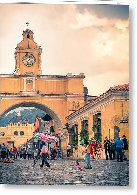 Holy Week Greeting Cards - Santa Catalina Arch Greeting Card by Simon Velazquez