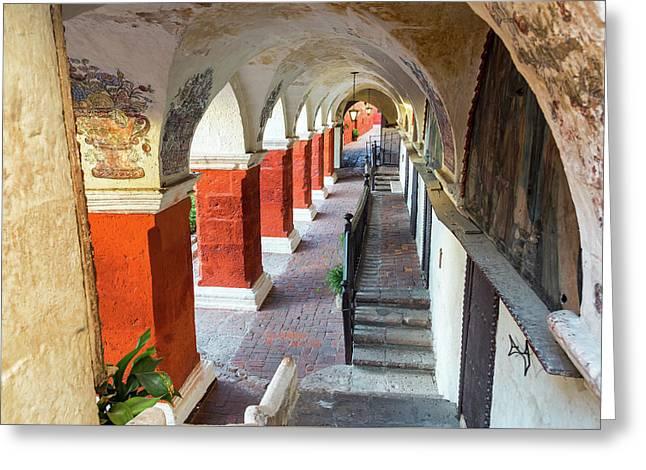 Santa Catalina Monastery Corridor Greeting Card by Jess Kraft