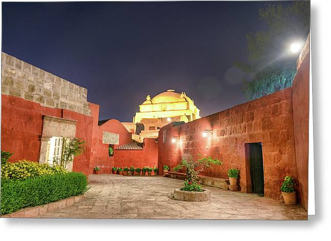 Santa Catalina Monastery Courtyard At Night Greeting Card by Jess Kraft