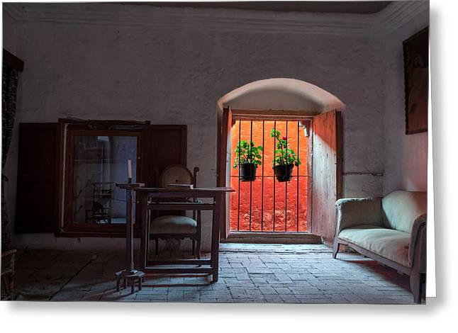 Catherine White Greeting Cards - Santa Catalina Monastery Window Greeting Card by Jess Kraft