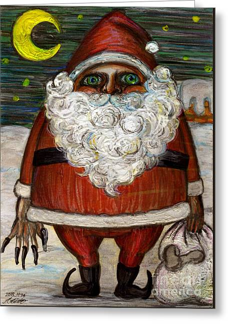 Santa Claus By Akiko Greeting Card by Akiko Okabe