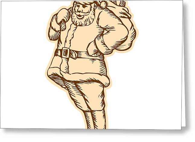 Shoulder Bag Greeting Cards - Santa Claus Father Christmas Standing Etching Greeting Card by Aloysius Patrimonio