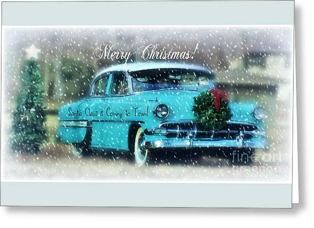 Santa Claus Is Coming To Town Greeting Card by Anita Faye