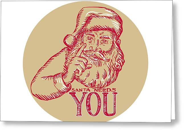 Etching Digital Greeting Cards - Santa Claus Needs You Pointing Etching Greeting Card by Aloysius Patrimonio