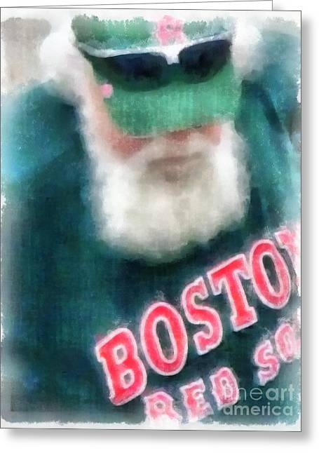 Boston Red Greeting Cards - Santa Claus Spotted at Spring Training Greeting Card by Edward Fielding