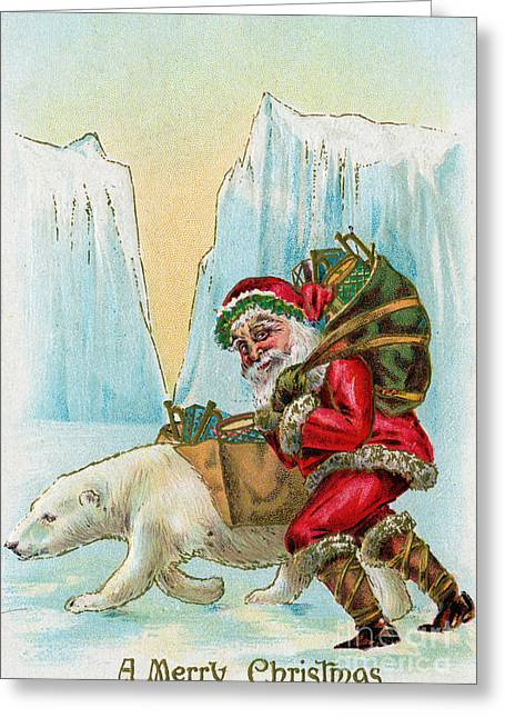 Santa Claus With A Polar Bear At The North Pole Greeting Card by American School