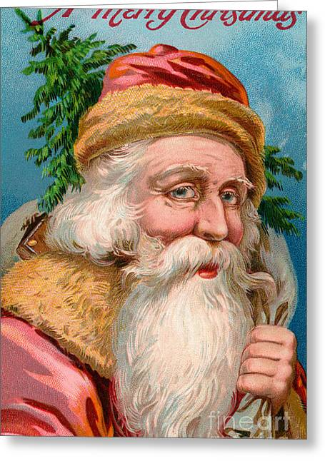 Santa Claus With Christmas Tree Greeting Card by American School