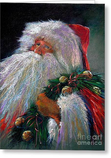 Oil Pastels Pastels Greeting Cards - SANTA CLAUS with Sleigh Bells and Wreath  Greeting Card by Shelley Schoenherr