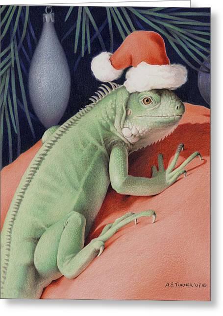 Amy S Turner Greeting Cards - Santa Claws - Bob the Lizard Greeting Card by Amy S Turner