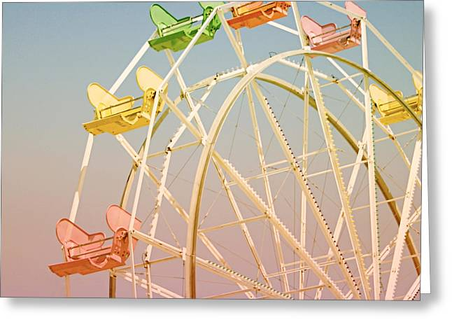 California Beaches Mixed Media Greeting Cards - Santa Cruz Ferris Wheel Greeting Card by Linda Woods