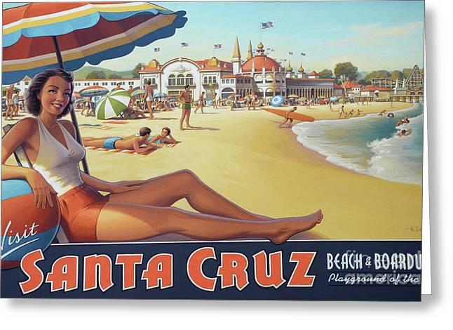 Santa Cruz For Youz Greeting Card by Bob Christopher