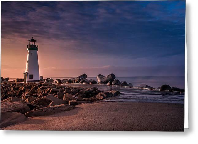 Santa Cruz Harbor Walton Lighthouse Greeting Card by Ralph Vazquez