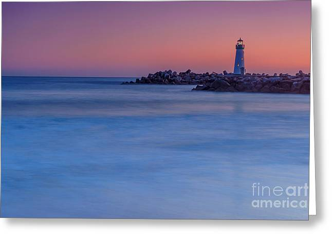 Santa Cruz Art Greeting Cards - Santa Cruz Lighthouse at Sunset Greeting Card by Glenn Brogan