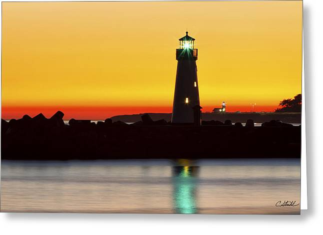 Santa Cruz Wharf Greeting Cards - Santa Cruz Lighthouses Greeting Card by Cheryl Strahl