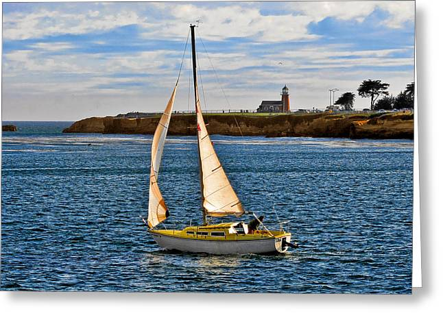 Santa Cruz Sailboat Greeting Cards - Santa Cruz Mark Abbott Memorial Lighthouse CA  Greeting Card by Christine Till