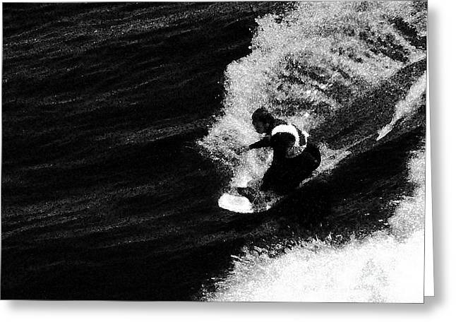 Seacape Greeting Cards - Santa Cruz Surfer Dude Greeting Card by Norman  Andrus