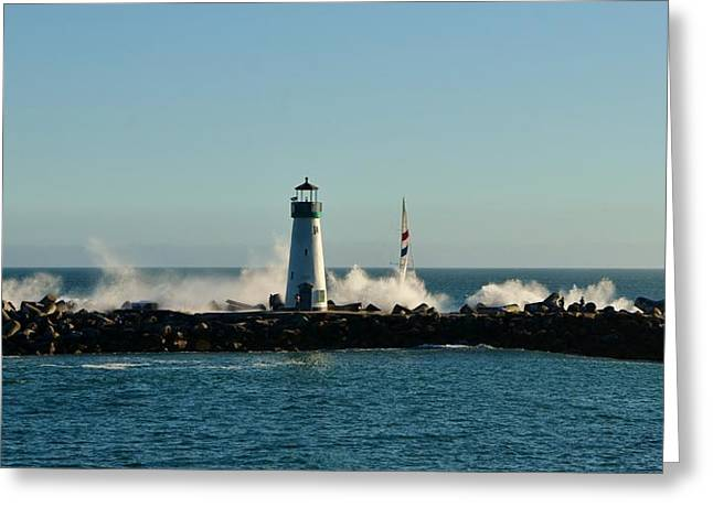 Santa Cruz Sailboat Greeting Cards - Santa Cruz Walton Lighthouse Greeting Card by Marilyn MacCrakin