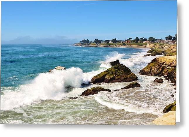 Santa Cruz Greeting Cards - Santa Cruz Wave Spray Greeting Card by Marilyn MacCrakin