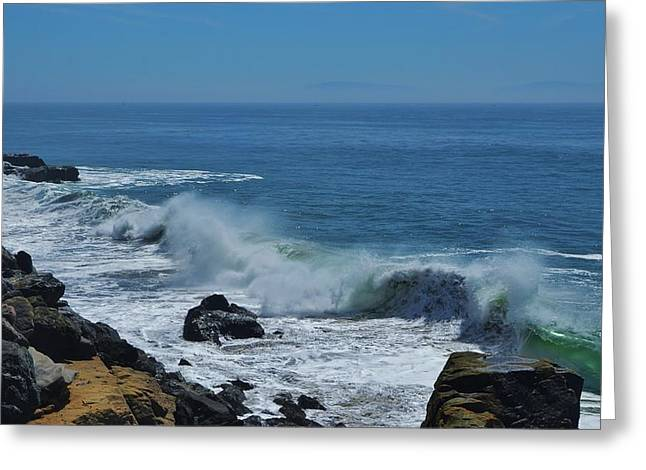 Santa Cruz Greeting Cards - Santa Cruz Waves Greeting Card by Marilyn MacCrakin