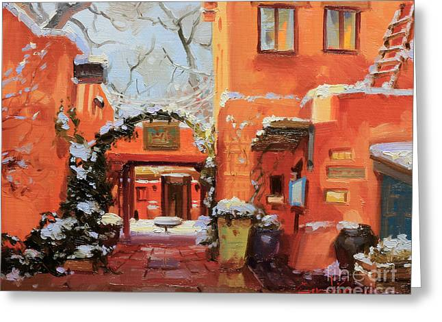 Night Cafe Greeting Cards - Santa Fe Cafe Greeting Card by Gary Kim